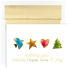 Peace Hope Love & Joy Holiday Collection Boxed Holiday Cards