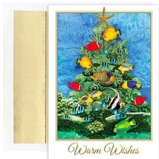 Tropical Fish Tree Warmest Wishes Boxed Holiday Cards