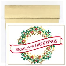 Contemporary Wreath Holiday Collection Boxed Holiday Cards