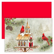 Cardinal Bird House Hollyville Boxed Holiday Cards