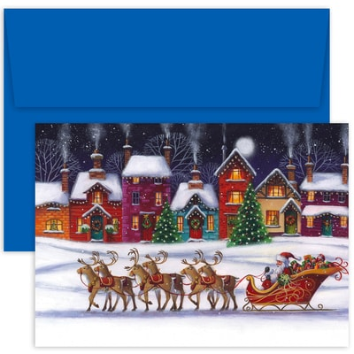 Santa & Sleigh Hollyville Boxed Holiday Cards