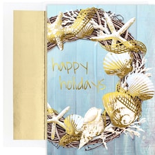 Coastal Wreath Warmest Wishes Boxed Holiday Cards