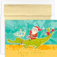 Santa & Gator Warmest Wishes Boxed Holiday Cards