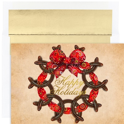 Horseshoe Wreath Warmest Wishes Boxed Holiday Cards