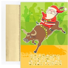 Rodeo Santa Warmest Wishes Boxed Holiday Cards