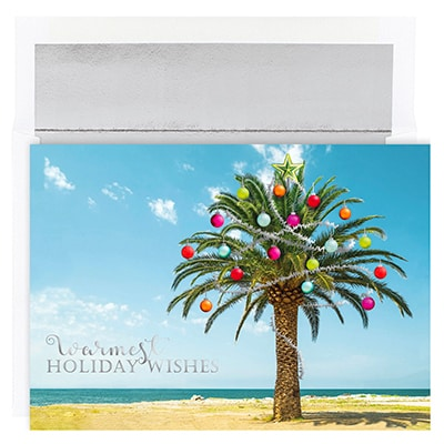 Decorated Palm Tree Warmest Wishes Boxed Holiday Cards