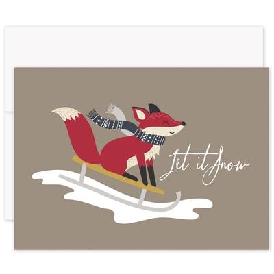 Fox Sledding Laughter & Joy Boxed Holiday Card