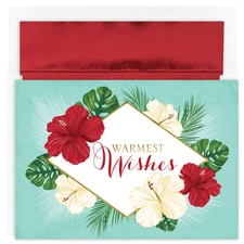 Tropical Floral Warmest Wishes Boxed Holiday Card