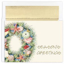 Shell Wreath Warmest Wishes Boxed Holiday Card