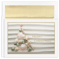 Shell Christmas Tree Warmest Wishes Boxed Holiday Card