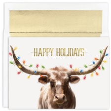 Long Horn String of Lights Warmest Wishes Boxed Holiday Card