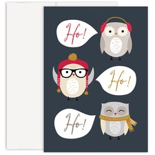 HO HO HO Owls Holiday Collection Made in USA Boxed Holiday Card
