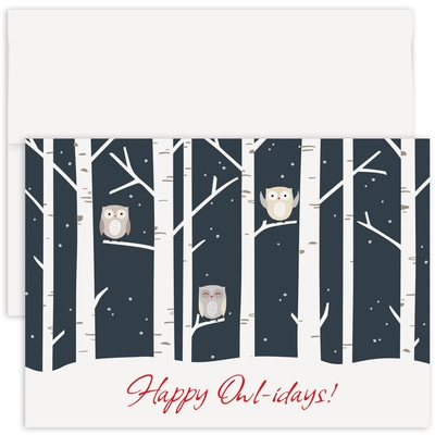 Happy Owl-idays Holiday Collection Made in USA Boxed Holiday Card