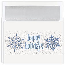 Happy Holidays Silver Snowflakes Holiday Collection Boxed Holiday Card