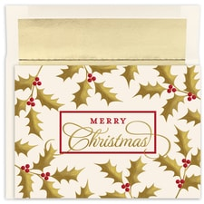 Christmas Holly & Berries Holiday Collection Boxed Holiday Card