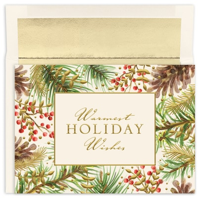 Pineboughs and Berries Holiday Collection Boxed Holiday Card