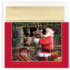 Santa and Reindeer Holiday Collection Boxed Holiday Card