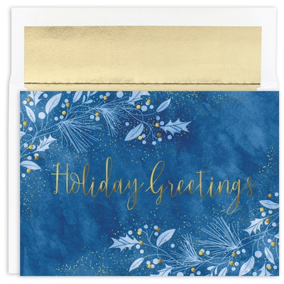 Blue & Gold Boughs Holiday Collection Boxed Holiday Card