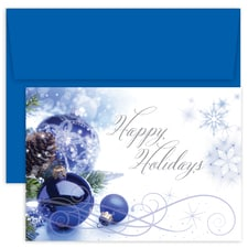 Blue Ornament Swirls Holiday Collection Boxed Holiday Card