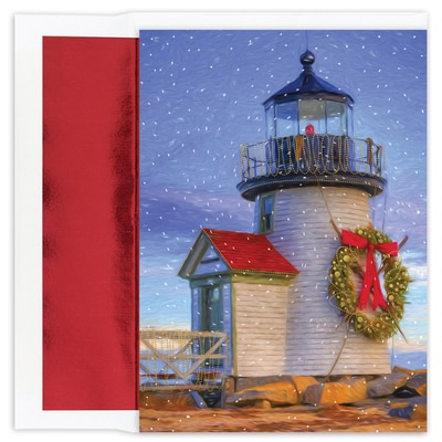Lighthouse Warmest Wishes Boxed Holiday Card