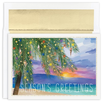 Tropical Sunset Warmest Wishes Boxed Holiday Card
