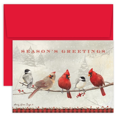 Cardinals and Chickadees Holiday Collection Boxed Holiday Card