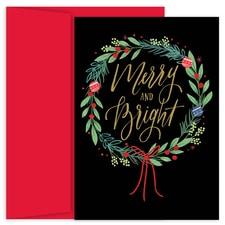 Merry & Bright Wreath Holiday Collection Boxed Holiday Card