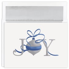 Joy Silver Ornament Holiday Collection Boxed Holiday Card