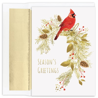 Pine Perched Cardinal  Holiday Collection Boxed Holiday Card
