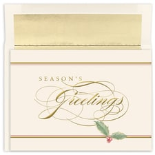 Season's Greetings Holly Holiday Collection Boxed Holiday Card