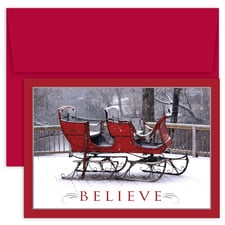 Believe Sleigh Holiday Collection Boxed Holiday Card