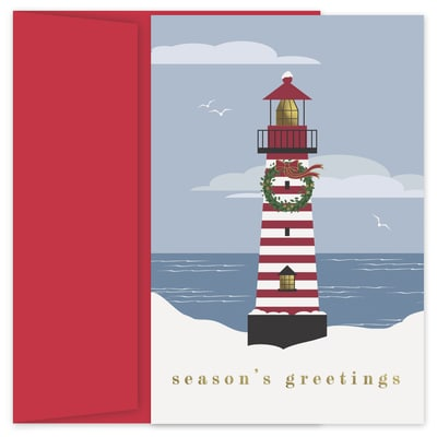 Striped Lighthouse Holiday Collection Petites Boxed Holiday Card