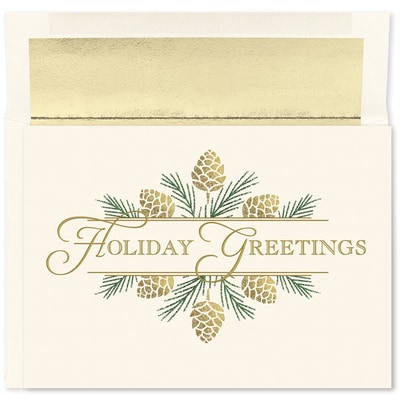 Golden Pinecones Holiday Collection Boxed Holiday Card