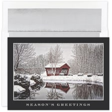 Glittering Covered Bridge Holiday Collection Boxed Holiday Card