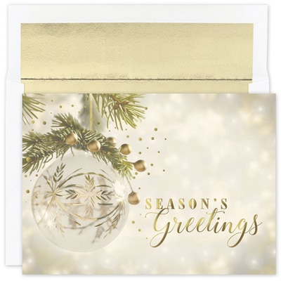 Gold Sparkle Ornament Holiday Collection Boxed Holiday Card