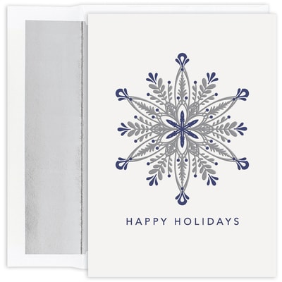 Ornate Silver Snowflake Holiday Collection Boxed Holiday Card