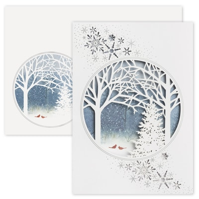Cardinals and Trees Laser Cut Holiday Collection Boxed Holiday Card