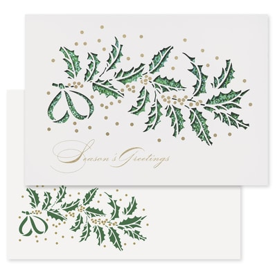 Glittering Holly Laser Cut Holiday Collection Laser Cut Boxed Holiday