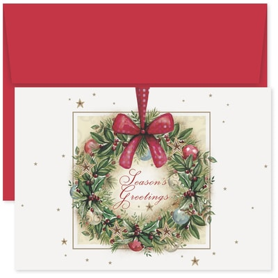 Painted Wreath Holiday Collection Boxed Holiday Card