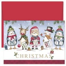 Santa and Friends Christmas Hollyville Boxed Holiday Card