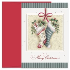 The Stockings Hung With Care Hollyville Boxed Holiday Card