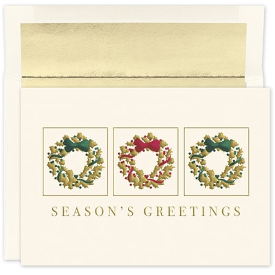 Gold Wreath Trio Holiday Collection Boxed Holiday Card