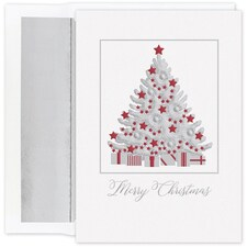 Silver Shimmer Tree Holiday Collection Boxed Holiday Card