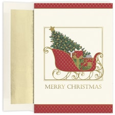 Santa's Elegant Sleigh Holiday Collection Boxed Holiday Card
