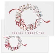 Red Bow Wreath Laser Cut Holiday Collection Boxed Holiday Card
