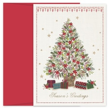 Poinsettia Christmas Tree Hollyville Boxed Holiday Card