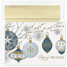 Silver & Gold Baubles Holiday Collection Boxed Holiday Card