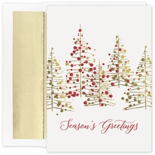 Gold and Red Treeline Holiday Collection Boxed Holiday Card
