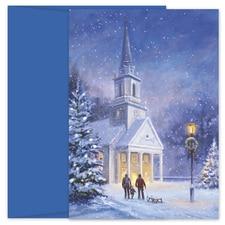 Snowy Church Hollyville Boxed Holiday Card