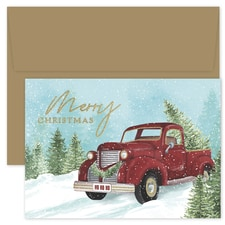 Red Truck and Tree Holiday Collection Boxed Holiday Card